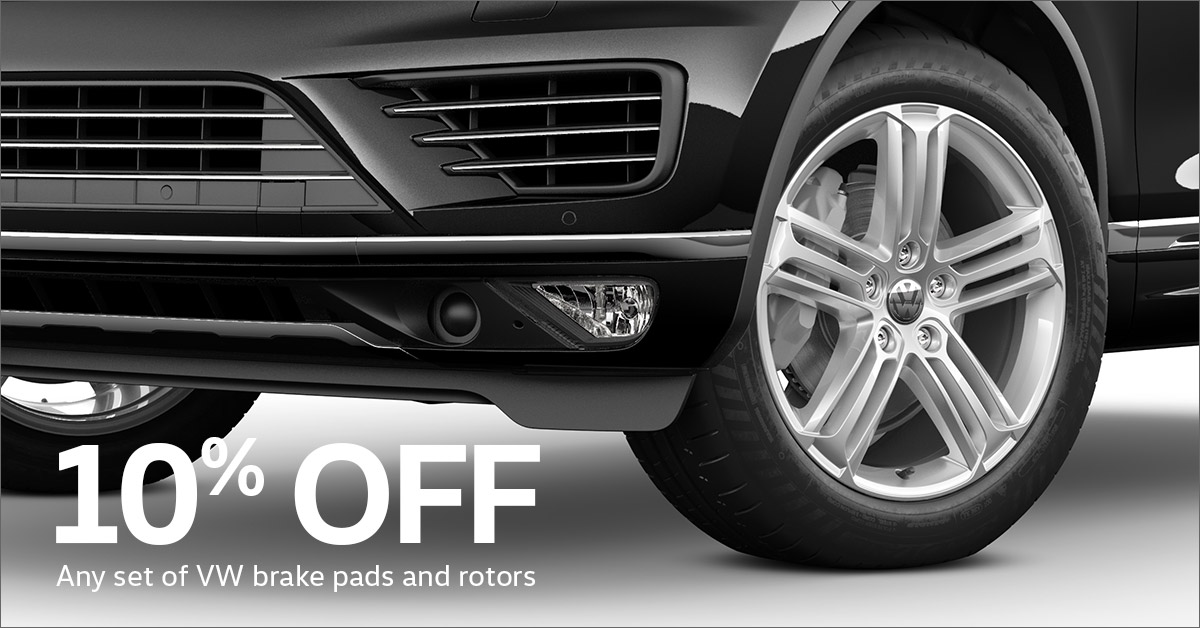 10% Off VW Brake Pads and Rotors*